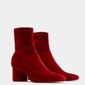 Zara Red Velvet Booties